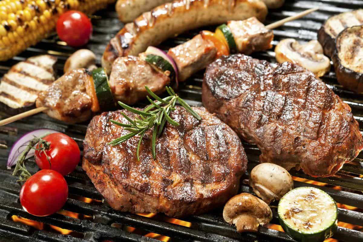 grilled vegetables and meat